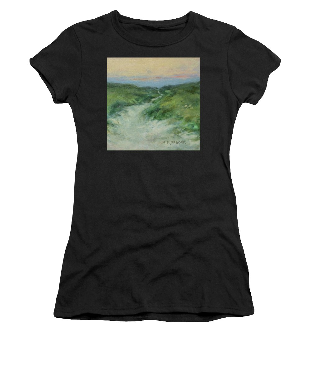 Beach Path Women's T-Shirt (Athletic Fit) featuring the painting Beach Path At Dusk by Lisa H Ridabock