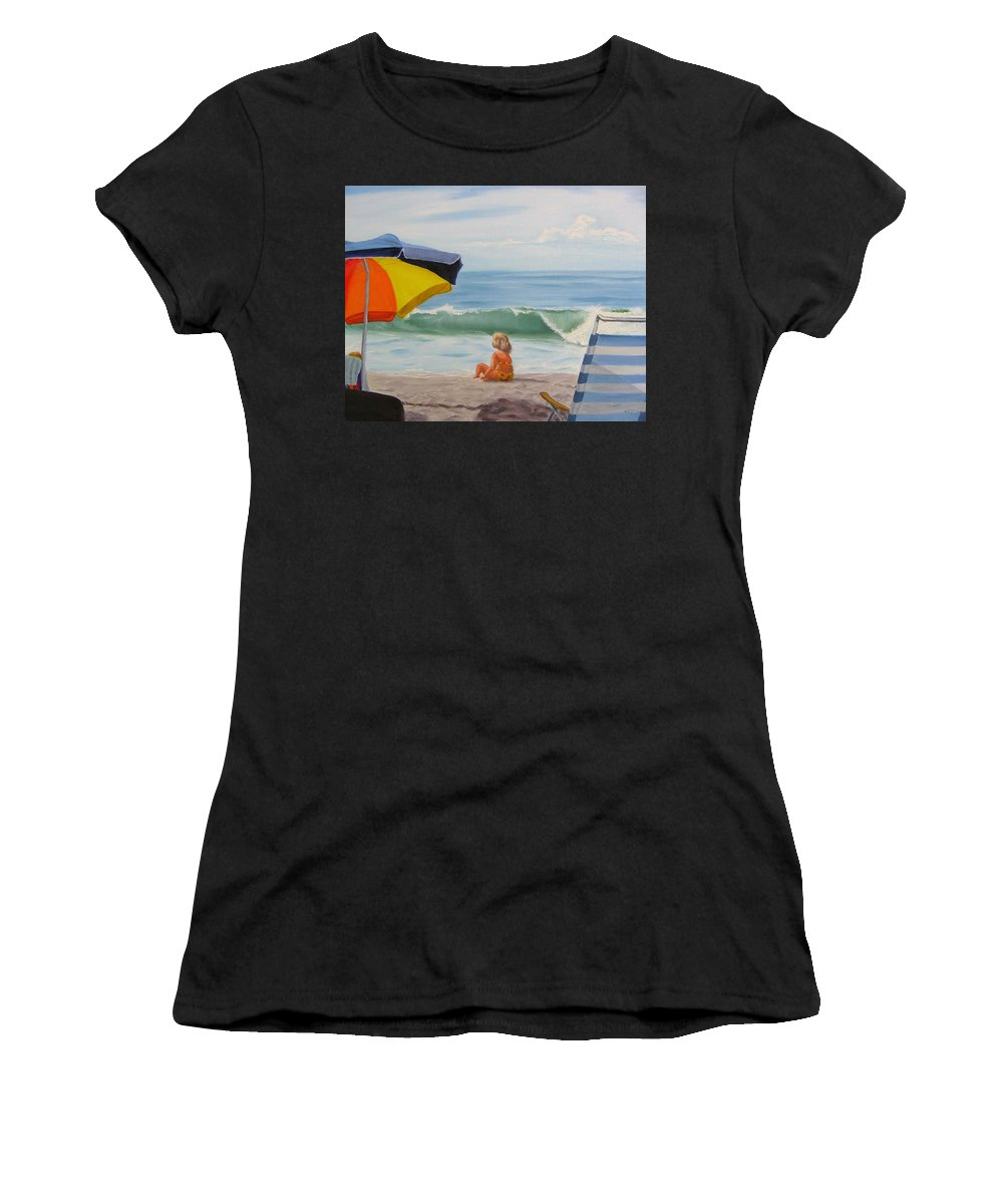 Seascape Women's T-Shirt (Athletic Fit) featuring the painting Beach Scene - Childhood by Lea Novak