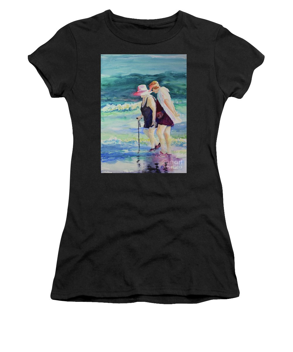 Beach Women's T-Shirt (Athletic Fit) featuring the painting Beach Strollers II by Marsha Reeves