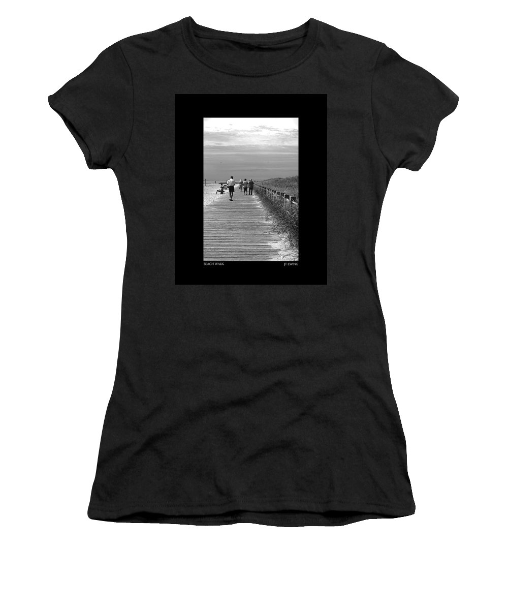 Boardwalk Women's T-Shirt (Athletic Fit) featuring the photograph Beach Walk by J Todd