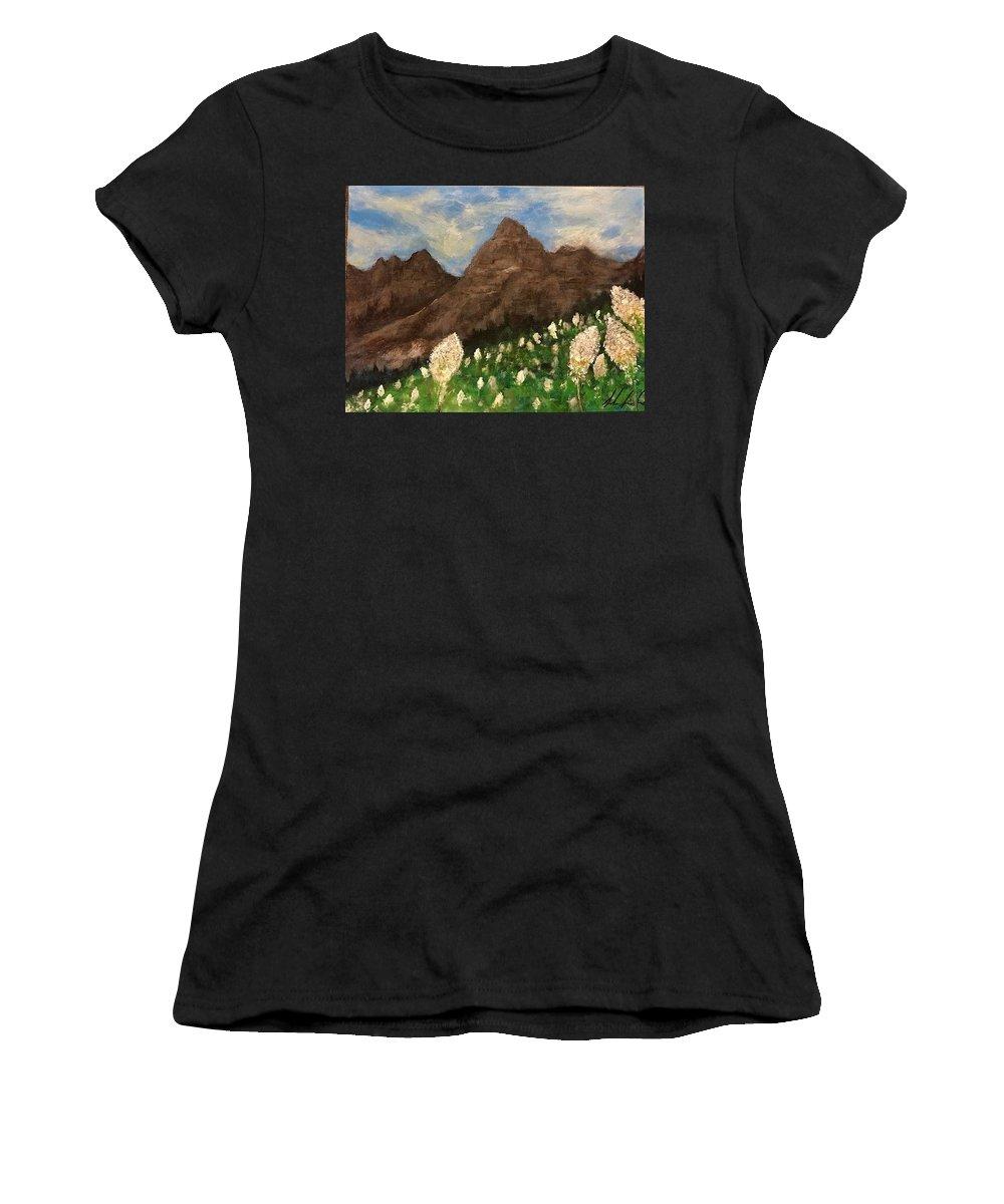 #glaciernationalpark #montana #mountains #glacierpark #beargrass #flowers #summer #nationalpark #clouds #montanaartist Women's T-Shirt featuring the painting Bear Grass Bloom 2017 by Sarah Kleinhans