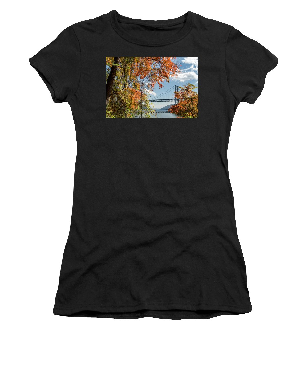 Bridge Women's T-Shirt (Athletic Fit) featuring the photograph Bear Mountain Bridge Fall Color by Chris Augliera