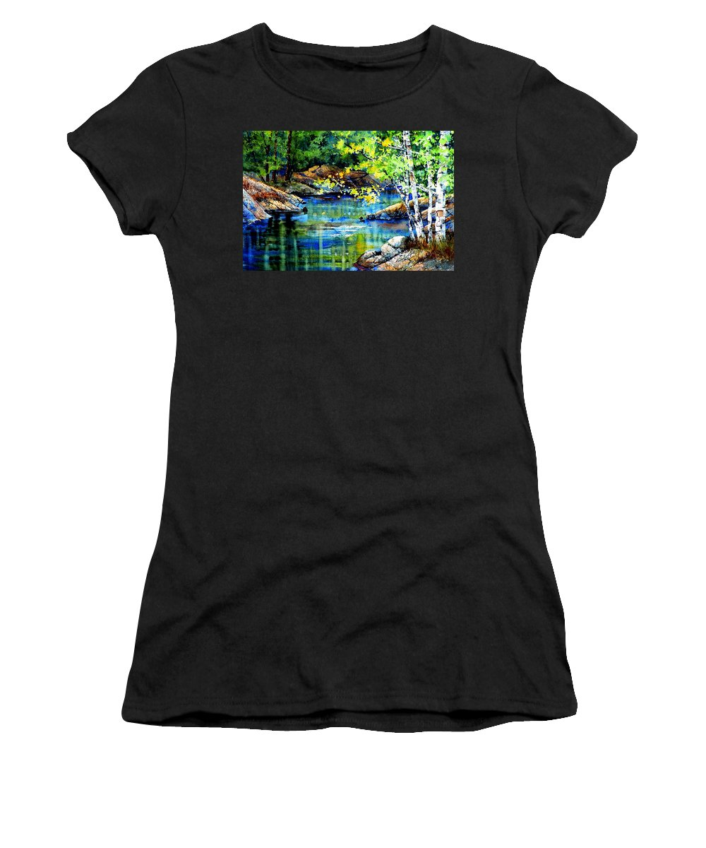 Landscape Painting Women's T-Shirt (Athletic Fit) featuring the painting Bear Paw Stream by Hanne Lore Koehler