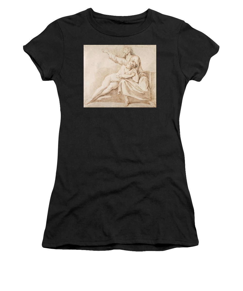 Nicolas-rene Jollain Women's T-Shirt (Athletic Fit) featuring the drawing Bearded Man Embracing A Young Woman by Nicolas-Rene Jollain