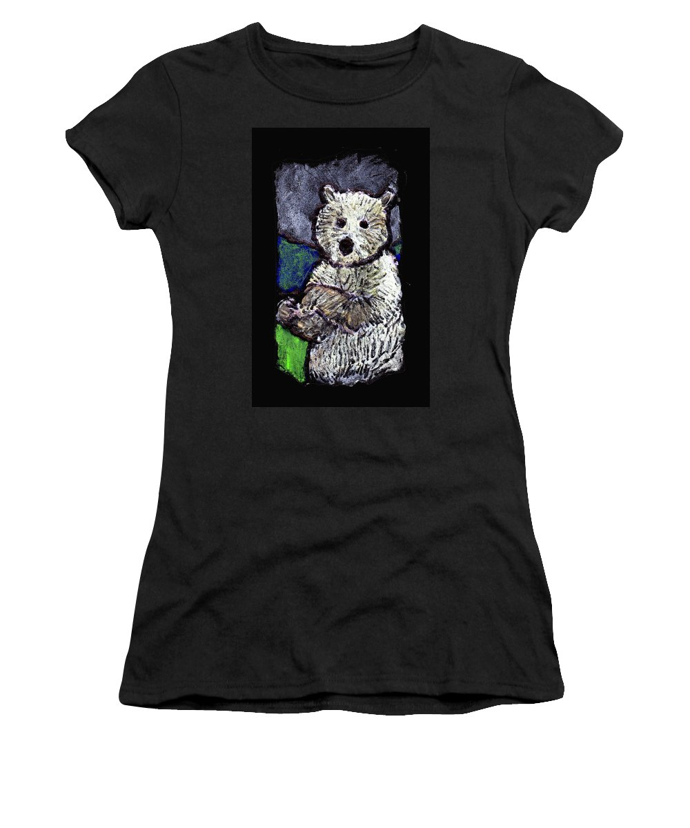 Bear Women's T-Shirt (Athletic Fit) featuring the painting Bearly Scary by Wayne Potrafka
