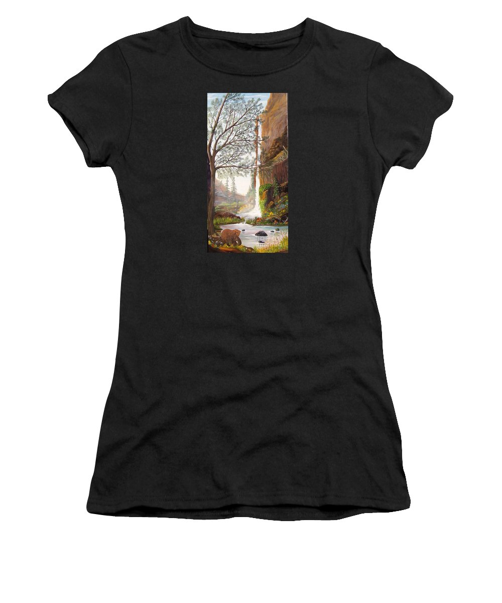 Landscape / Waterfall / Bears/ Wildlife/trees/cliffs/flowers/mist Women's T-Shirt (Athletic Fit) featuring the painting Bears At Waterfall by Myrna Walsh