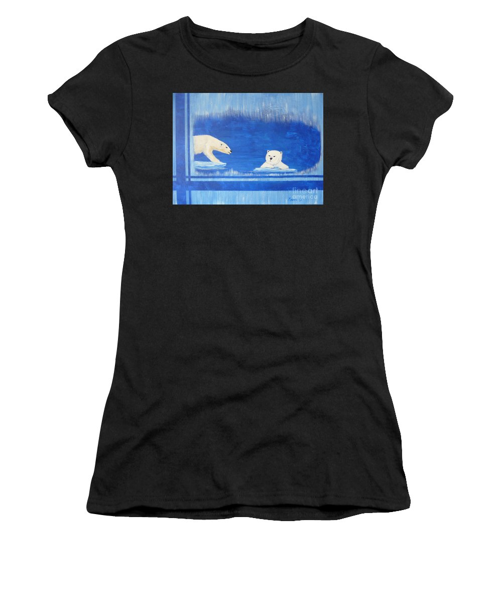 Polar Bear Women's T-Shirt (Athletic Fit) featuring the painting Bears In Global Warming by Monika Shepherdson