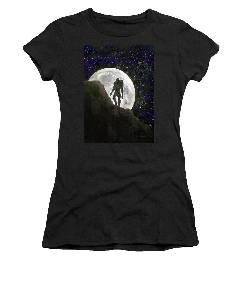 Beast Women's T-Shirt (Athletic Fit) featuring the painting Beast At Full Moon by Kevin Middleton