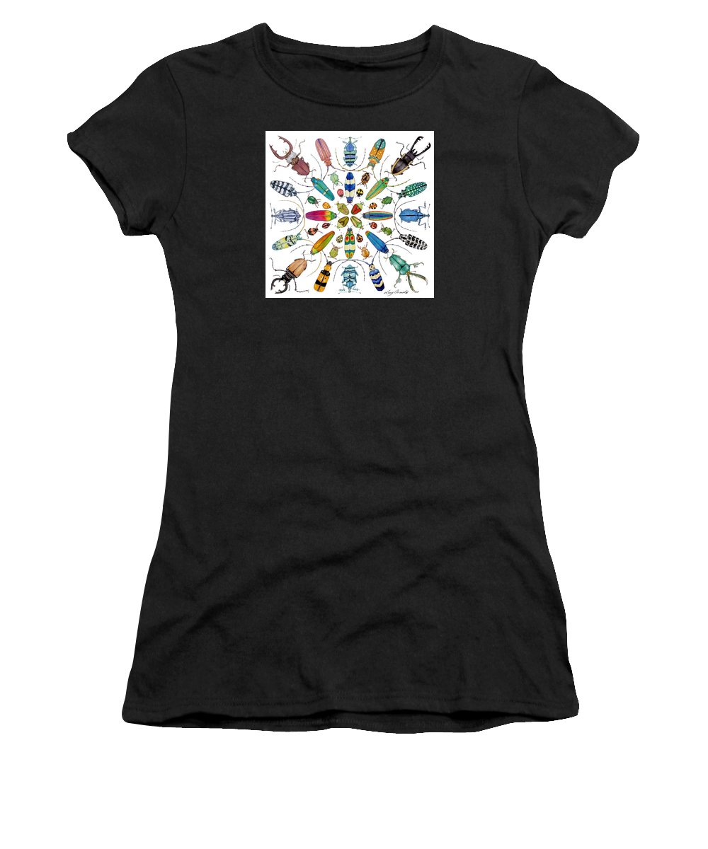 Insects Women's T-Shirt (Athletic Fit) featuring the painting Beautiful Beetles by Lucy Arnold