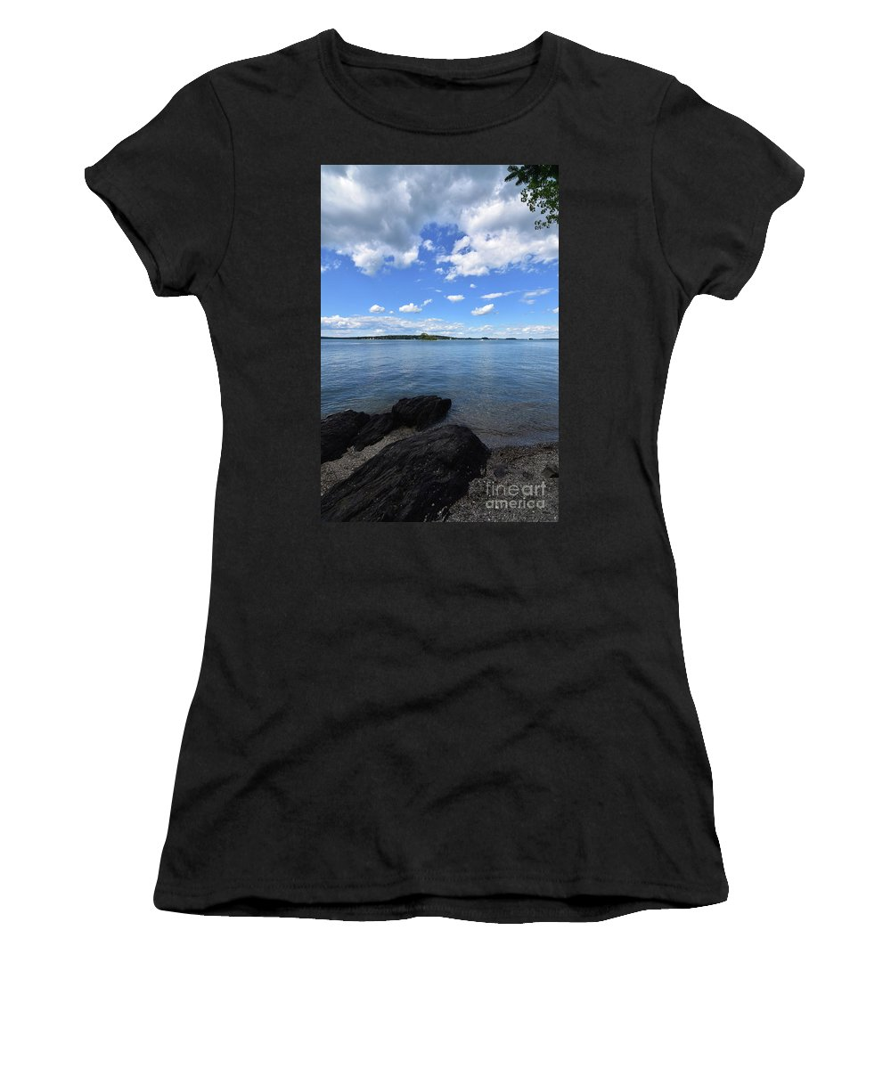 Casco-bay Women's T-Shirt (Athletic Fit) featuring the photograph Beautiful Calm Ocean Water's In Casco Bay Maine by DejaVu Designs