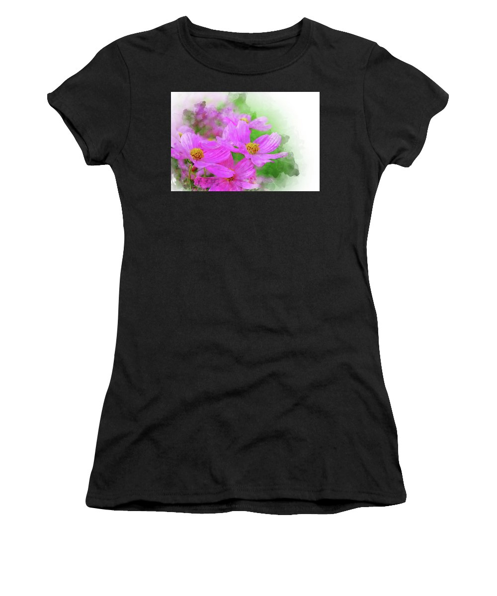 Abstract Women's T-Shirt (Athletic Fit) featuring the painting Beautiful Pink Flower Blooming For Background. by Punnarong Lotulit