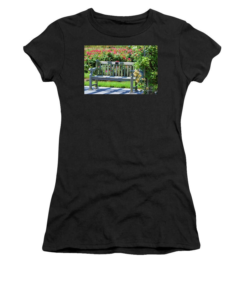 Bench And Containers Women's T-Shirt (Athletic Fit) featuring the painting Beautiful Spot For Relaxing 3 by Jeelan Clark