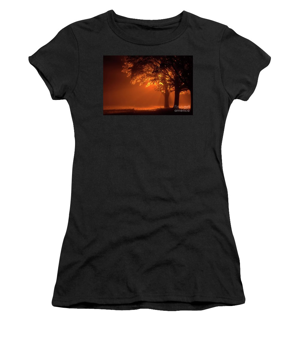 Night Women's T-Shirt (Athletic Fit) featuring the photograph Beautiful Trees At Night With Orange Light by Simon Bratt Photography LRPS