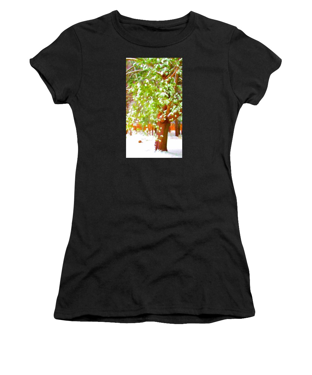 Background Women's T-Shirt featuring the painting Beautiful Winter Tree by Jeelan Clark