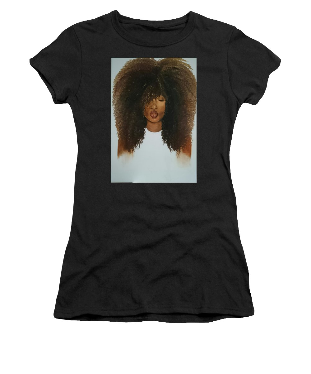 Girl Woman Face Beauty Lips Kiss Oil Painting Art Christmas Afro Curls Natural Hair Triptych Trump Clinton Office Living Room Afro-american Black White Women's T-Shirt (Athletic Fit) featuring the painting Beauty II by Sonja Roosenhart