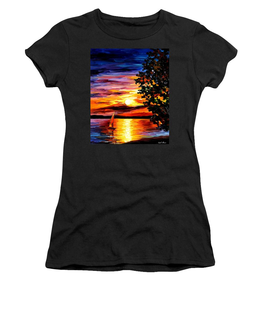 Afremov Women's T-Shirt (Athletic Fit) featuring the painting Beauty Of Night by Leonid Afremov