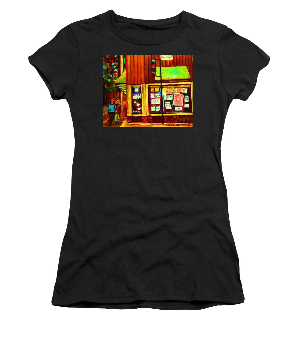 Beautys Restaurant Women's T-Shirt featuring the painting Beautys Famous Mishmash by Carole Spandau