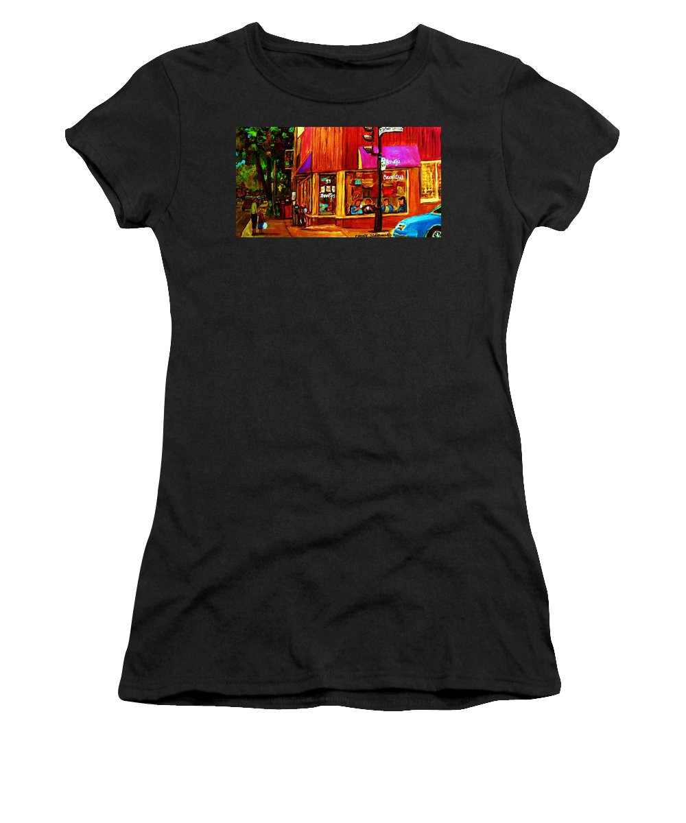 Beautys Restaurant Montreal Women's T-Shirt (Athletic Fit) featuring the painting Beautys Luncheonette by Carole Spandau