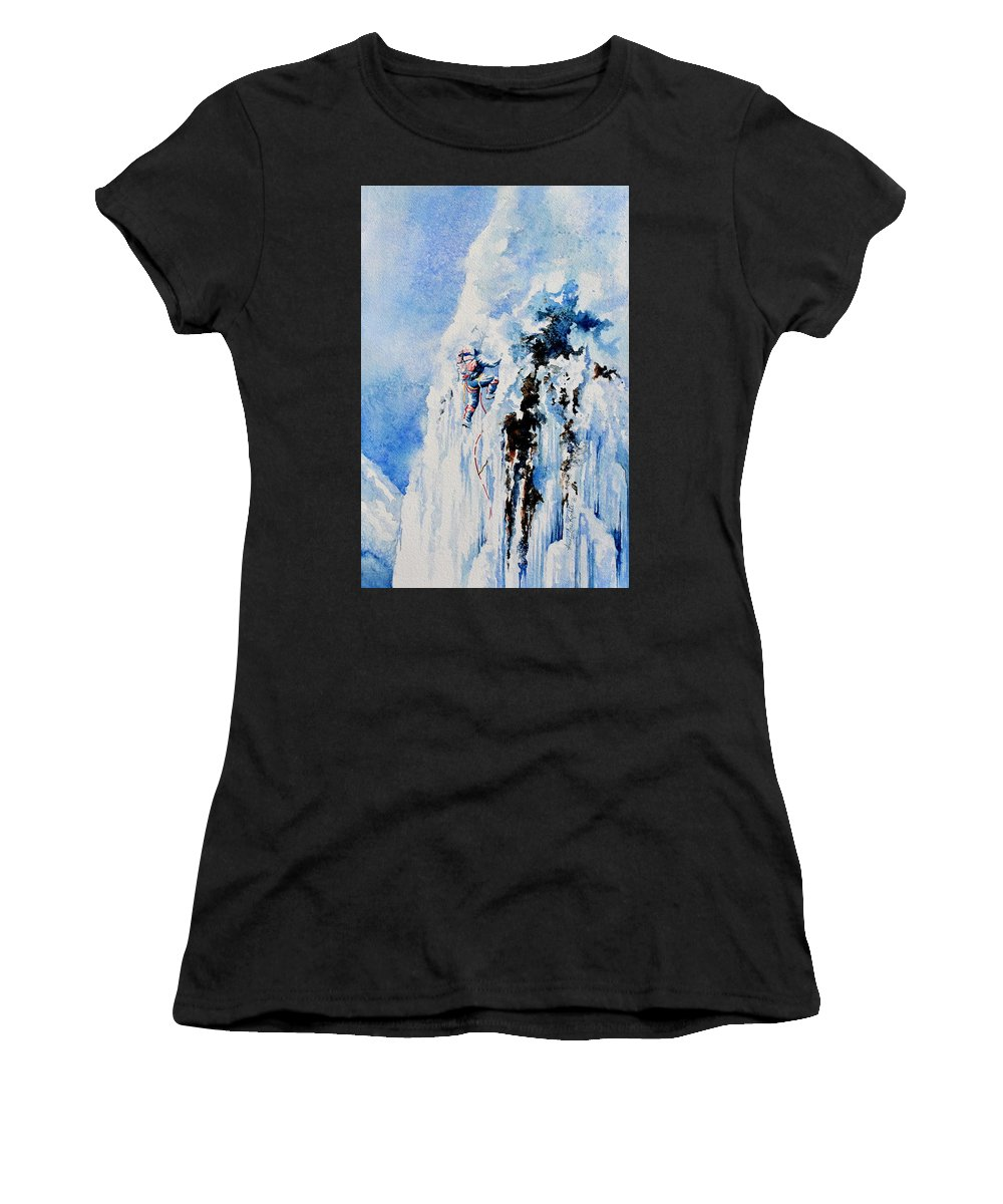 Ice Climbing Women's T-Shirt (Athletic Fit) featuring the painting Because It's There by Hanne Lore Koehler