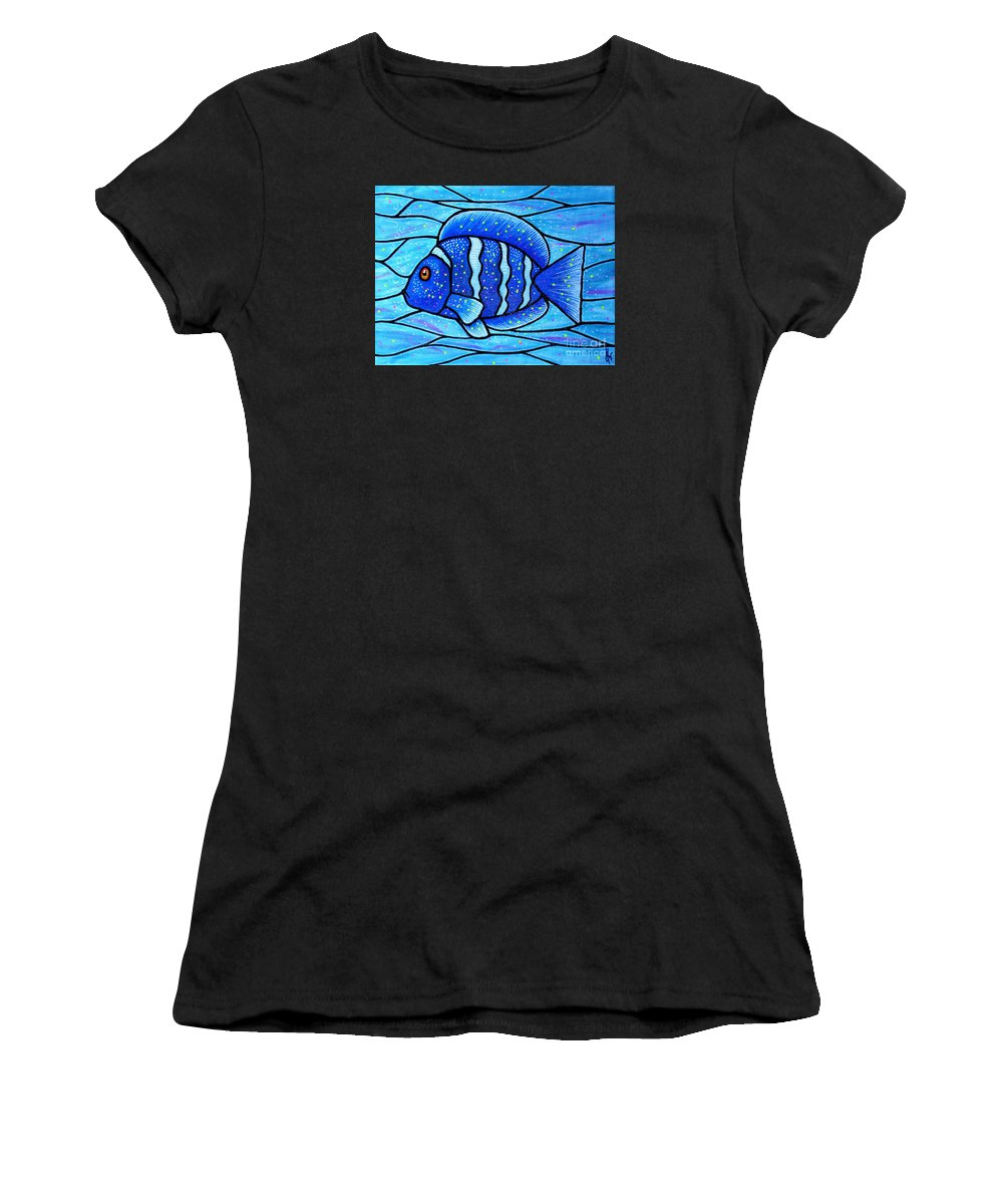 Tropical Fish Women's T-Shirt featuring the painting Beckys Blue Tropical Fish by Jim Harris