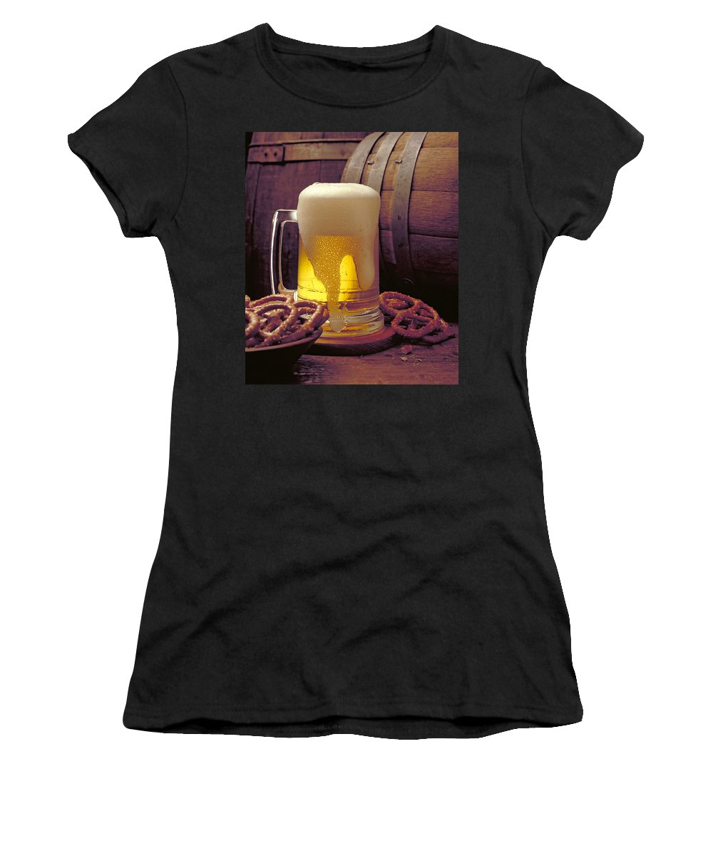 Beer Women's T-Shirt (Athletic Fit) featuring the photograph Beer And Pretzels by Thomas Firak