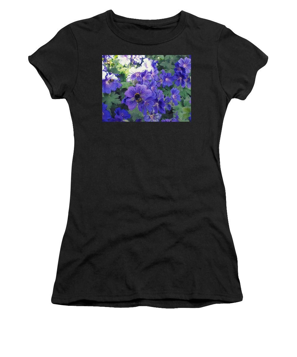 Bees Women's T-Shirt (Athletic Fit) featuring the photograph Bees And Flowers by Samuel Pye