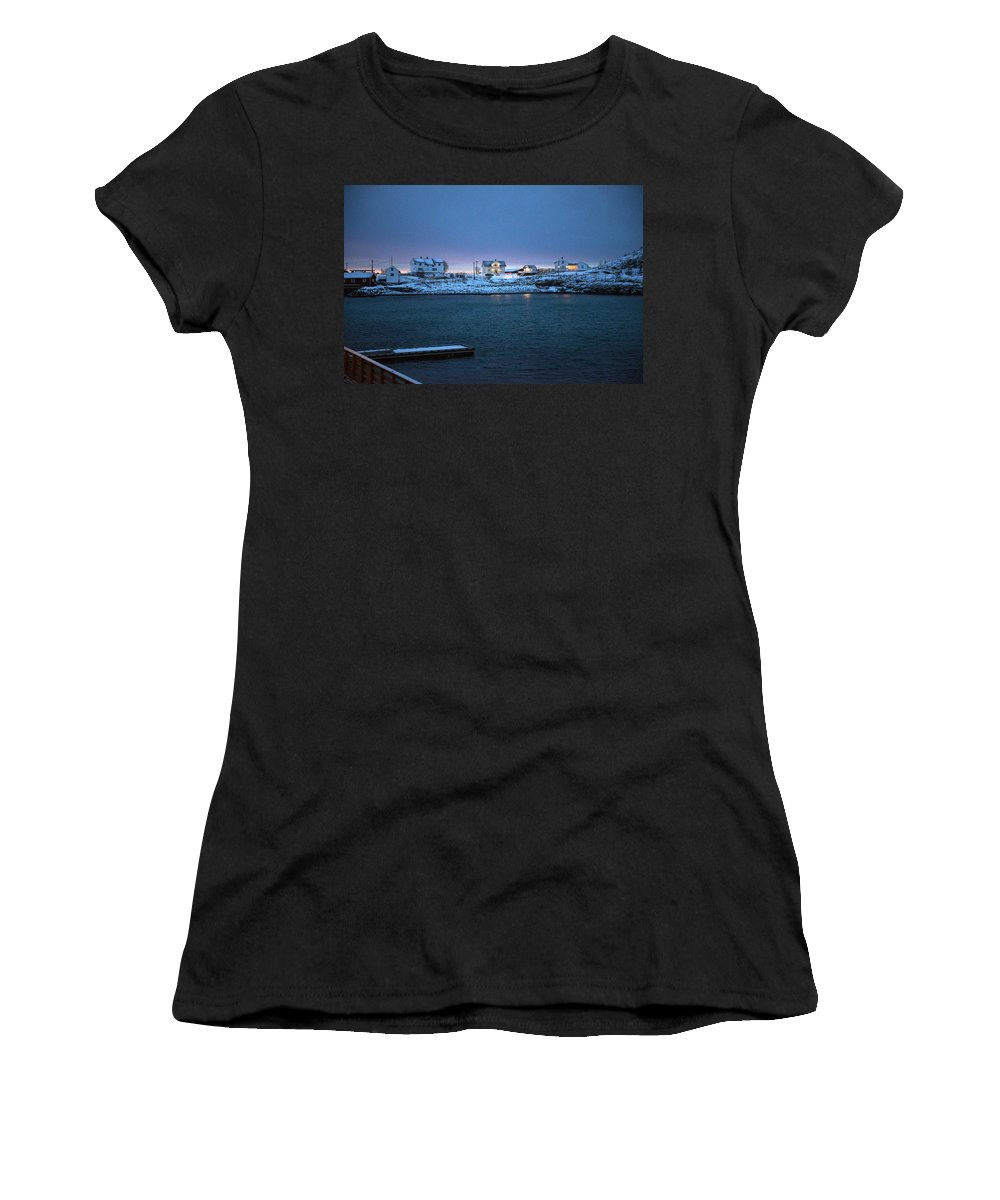 Dawn Women's T-Shirt featuring the photograph Before Dawn Reine Lofoten by Dubi Roman