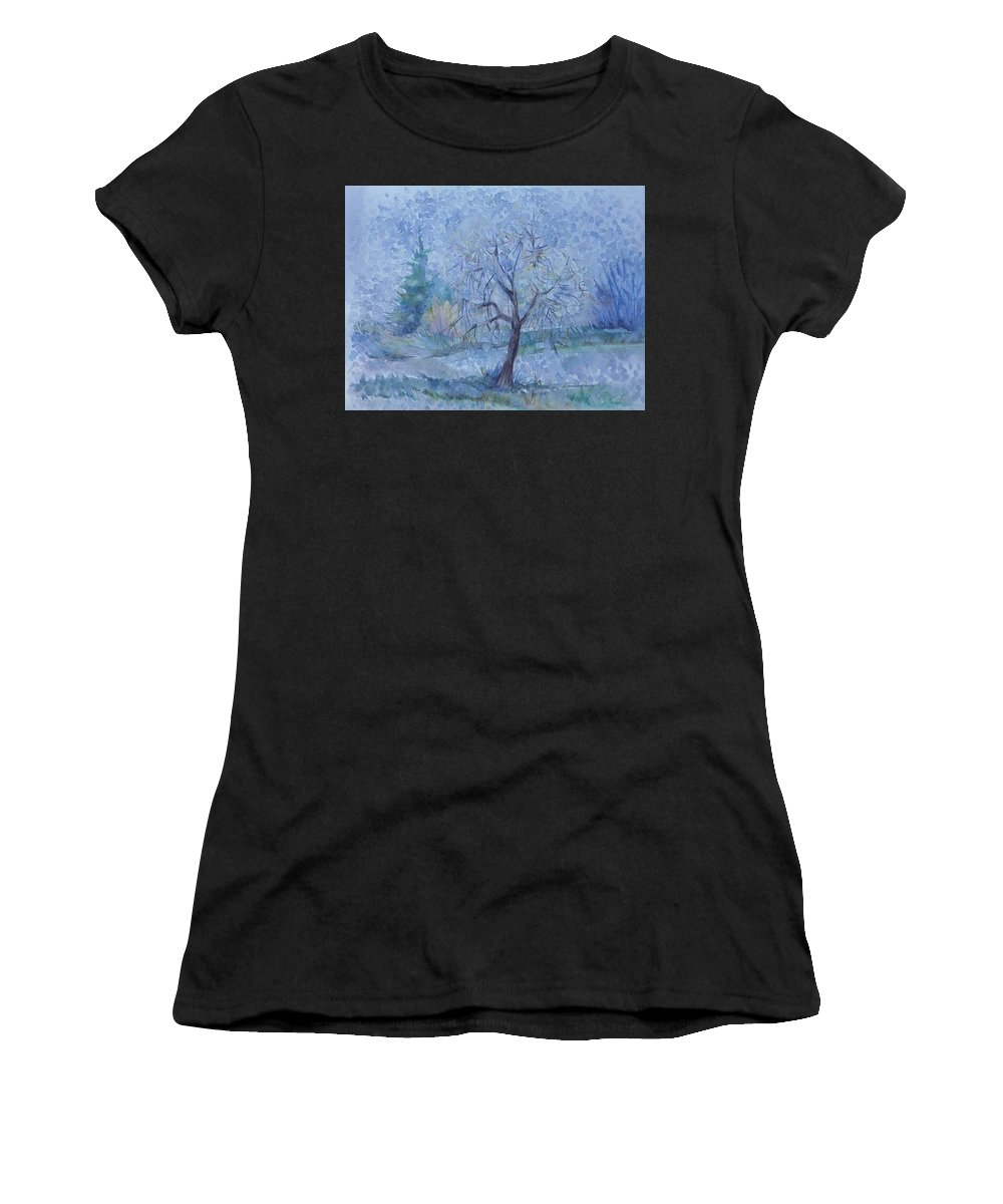 Autumn Women's T-Shirt featuring the painting Beginning Of Another Winter by Anna Duyunova