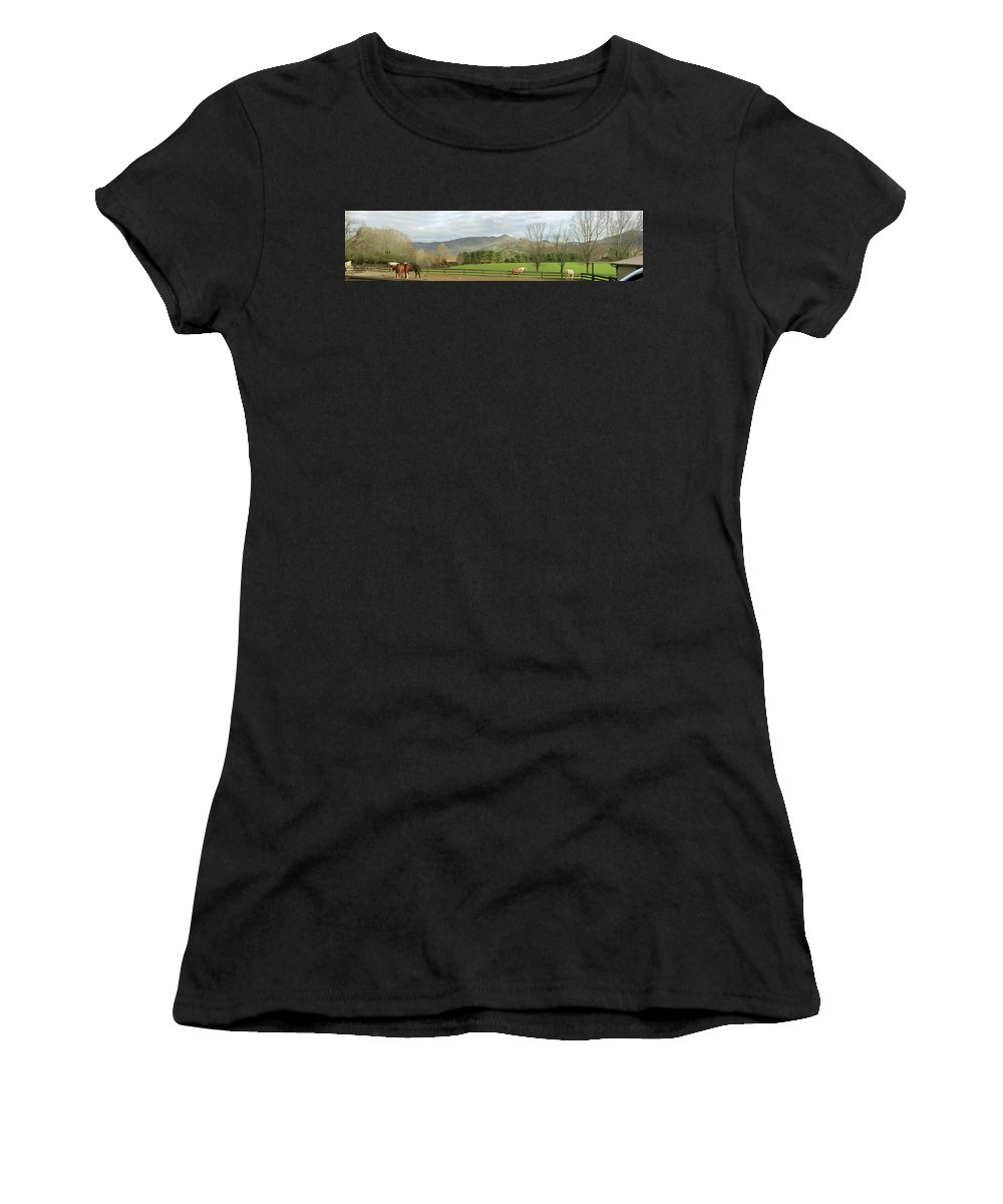 Dillard House Women's T-Shirt (Athletic Fit) featuring the photograph Behind The Dillard House Restaurant by Jerry Battle