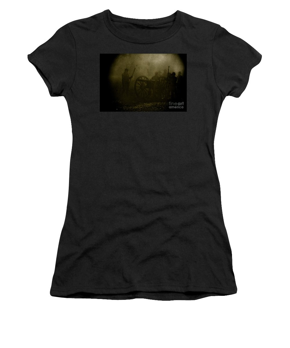 Civil War Re-enactment Women's T-Shirt featuring the photograph Behind The Smoke by Kim Henderson