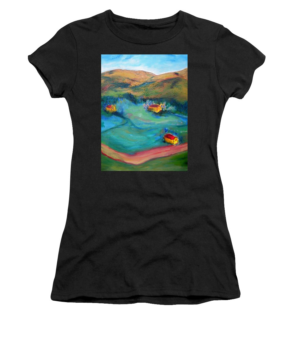 Landscape Women's T-Shirt (Athletic Fit) featuring the painting Beit Shemesh by Suzanne Udell Levinger
