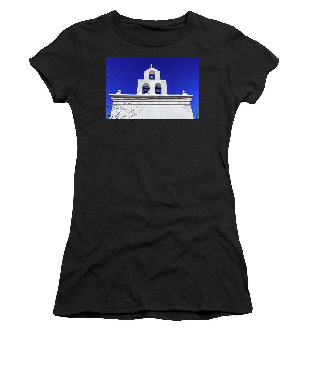 Bell Chapelsan Xavier Del Bac Mission Women's T-Shirt (Athletic Fit) featuring the photograph Bell Chapel - San Xavier Mission - Tucson Arizona by Jon Berghoff