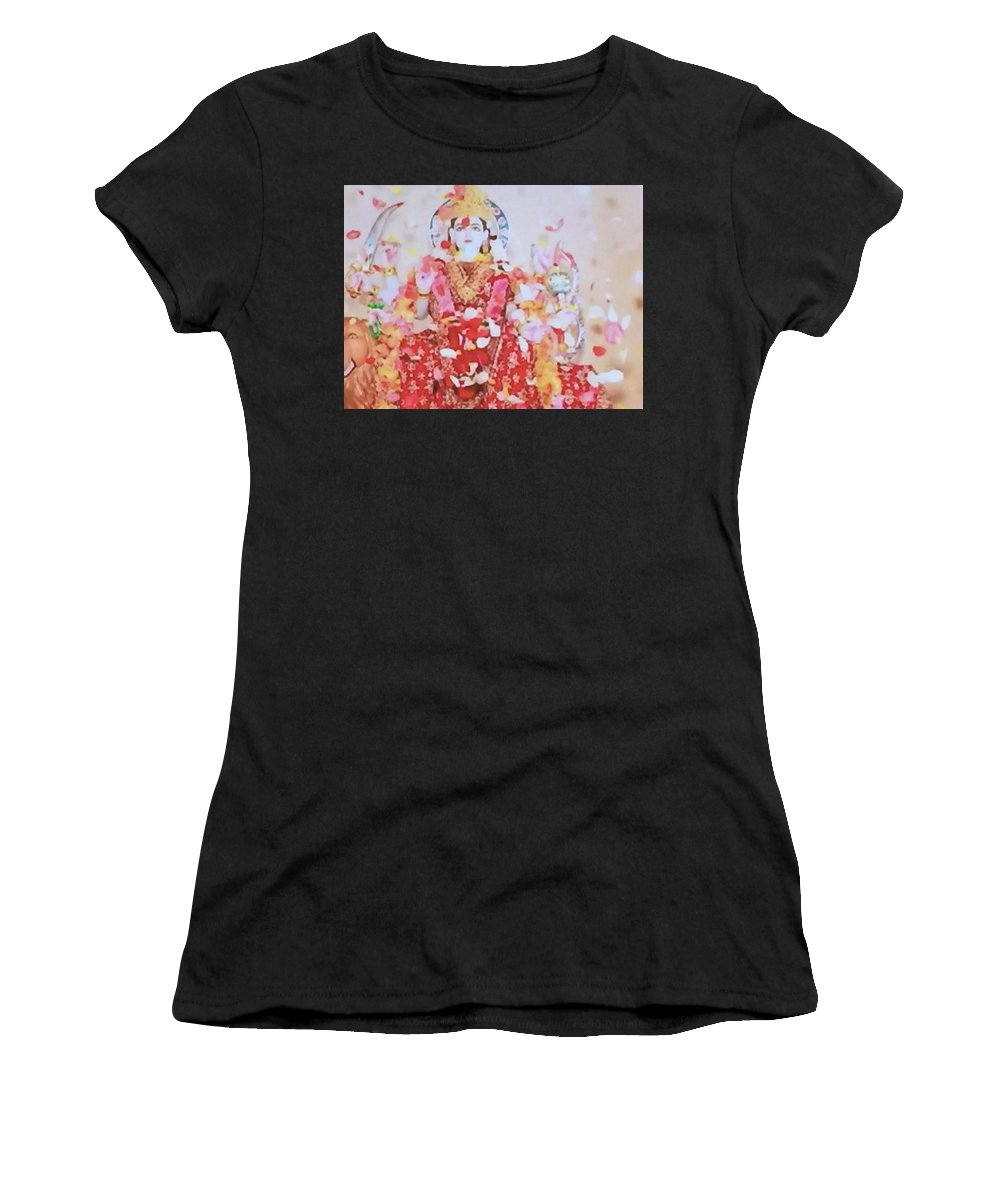 Hindu Godess Lakshimi Women's T-Shirt featuring the painting Beloved Lakshimi by Denise Mc Nellis