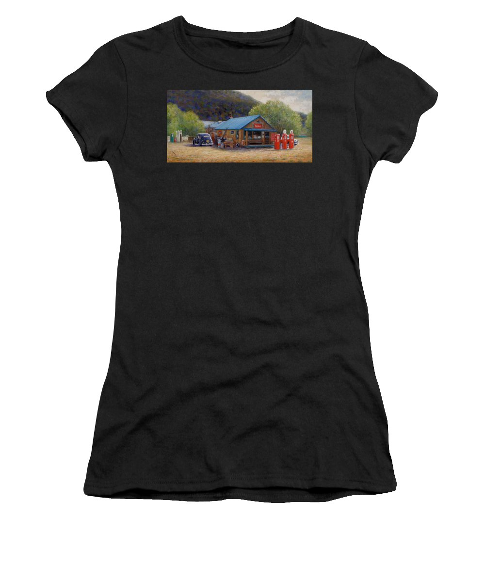 Realism Women's T-Shirt (Athletic Fit) featuring the painting Below Taos 2 by Donelli DiMaria