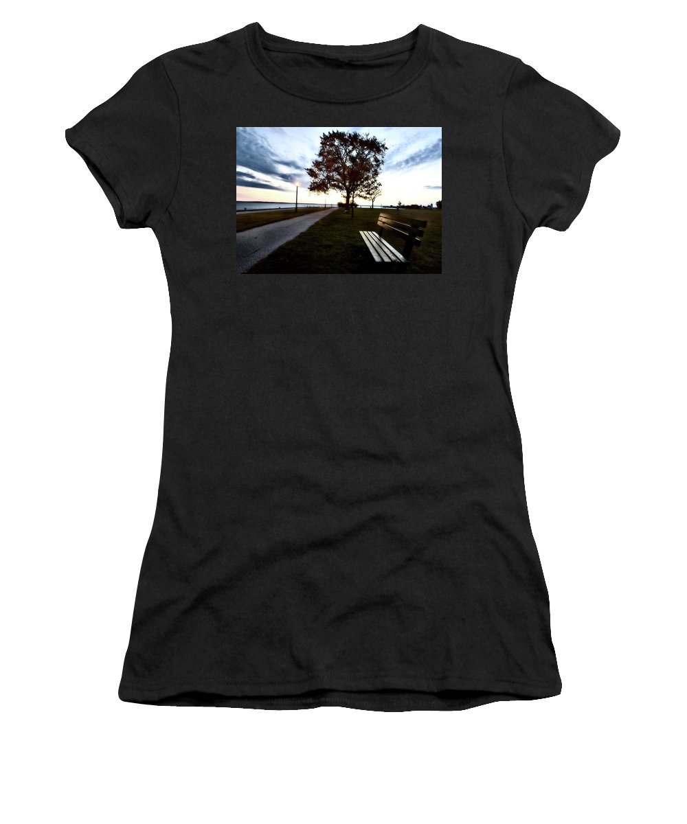 Bench Women's T-Shirt featuring the digital art Bench And Street Light by Mark Duffy