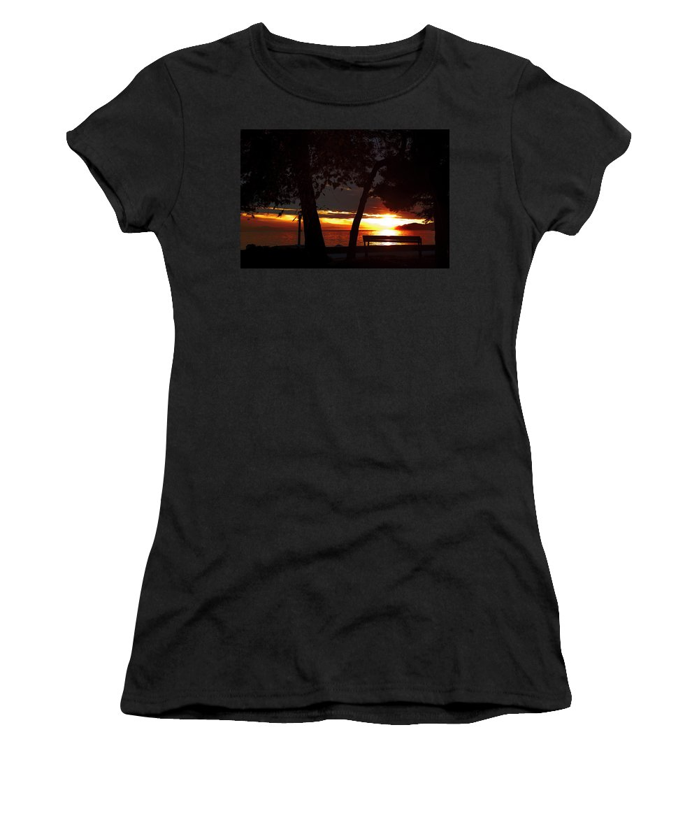 Bench Women's T-Shirt (Athletic Fit) featuring the photograph Bench In The Sun by Monte Arnold