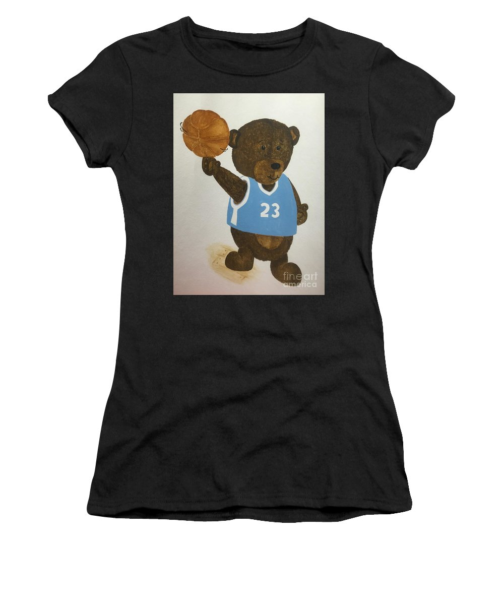 Kids Women's T-Shirt (Athletic Fit) featuring the painting Benny Bear Basketball by Tamir Barkan