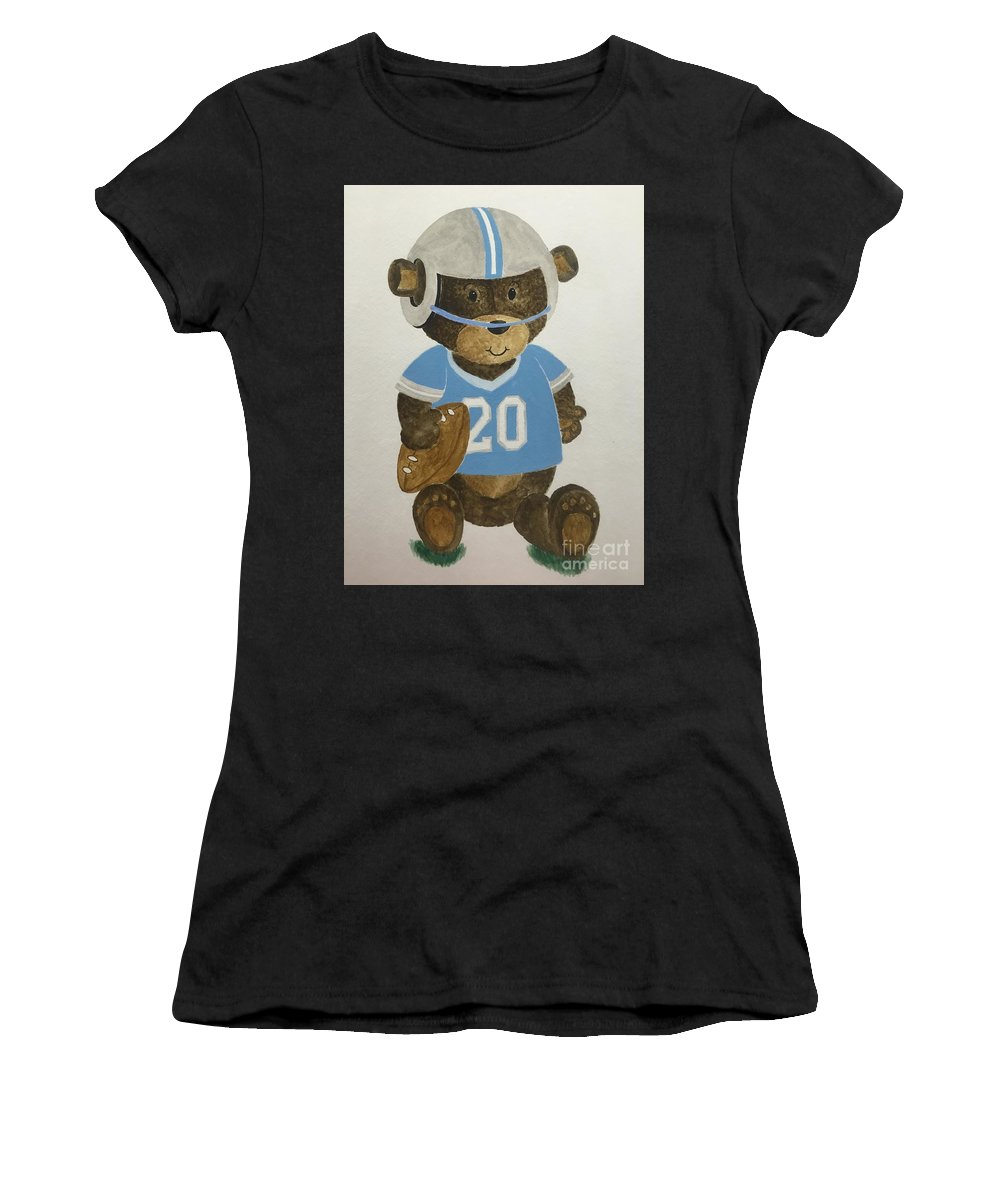 Kids Women's T-Shirt (Athletic Fit) featuring the painting Benny Bear Football by Tamir Barkan
