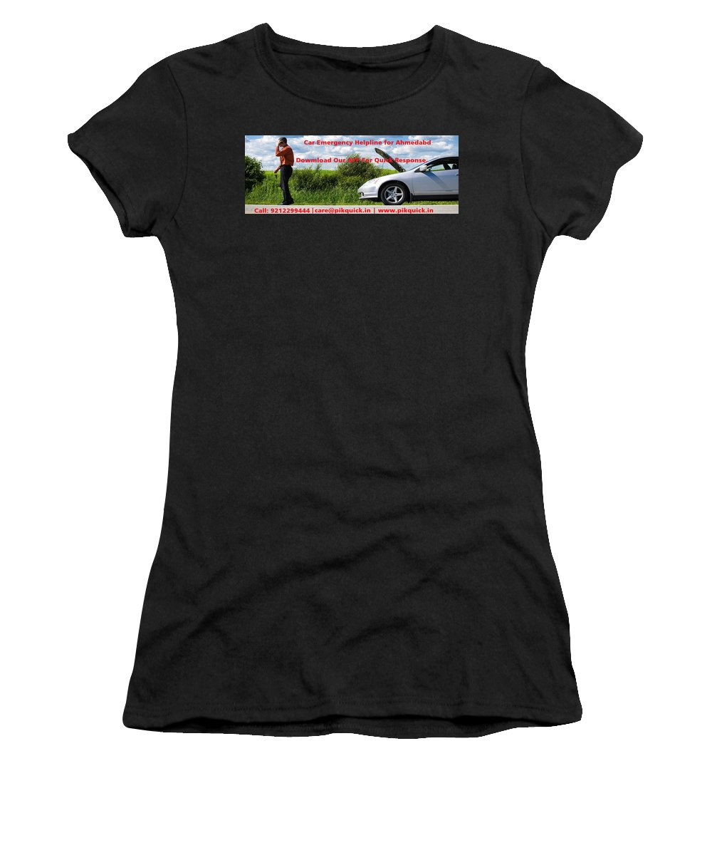 24 Hour Roadside Assistance Women's T-Shirt (Athletic Fit) featuring the photograph Best And Affordable Car Services Company. by Rickey Bivins