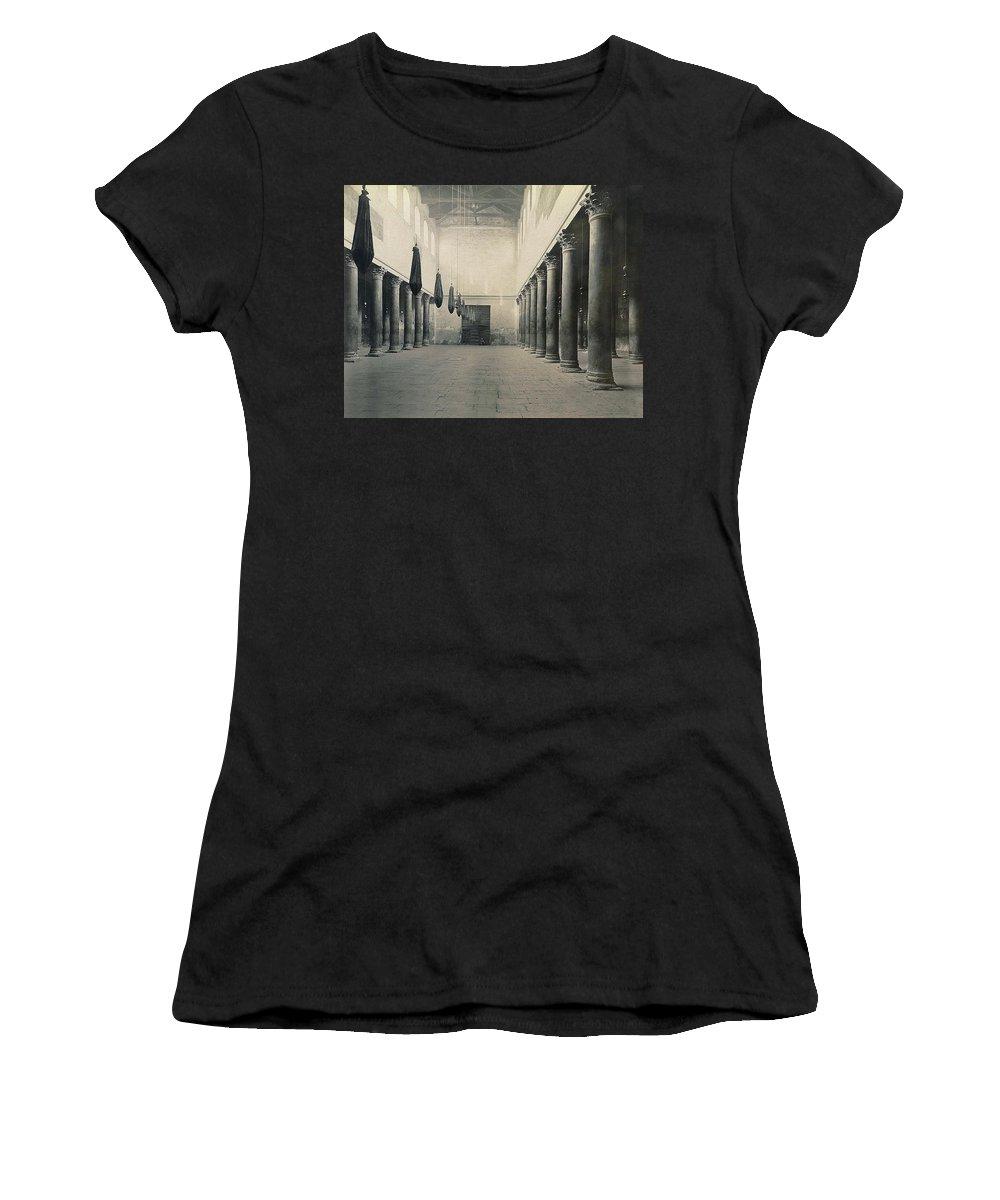 Bethlehem Women's T-Shirt (Athletic Fit) featuring the photograph Bethlehem - Nativity Church Year 1867 by Munir Alawi
