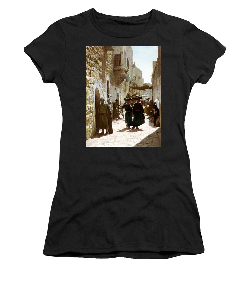 Bethlehem Women's T-Shirt (Athletic Fit) featuring the photograph Bethlehem Merchant Street by Munir Alawi