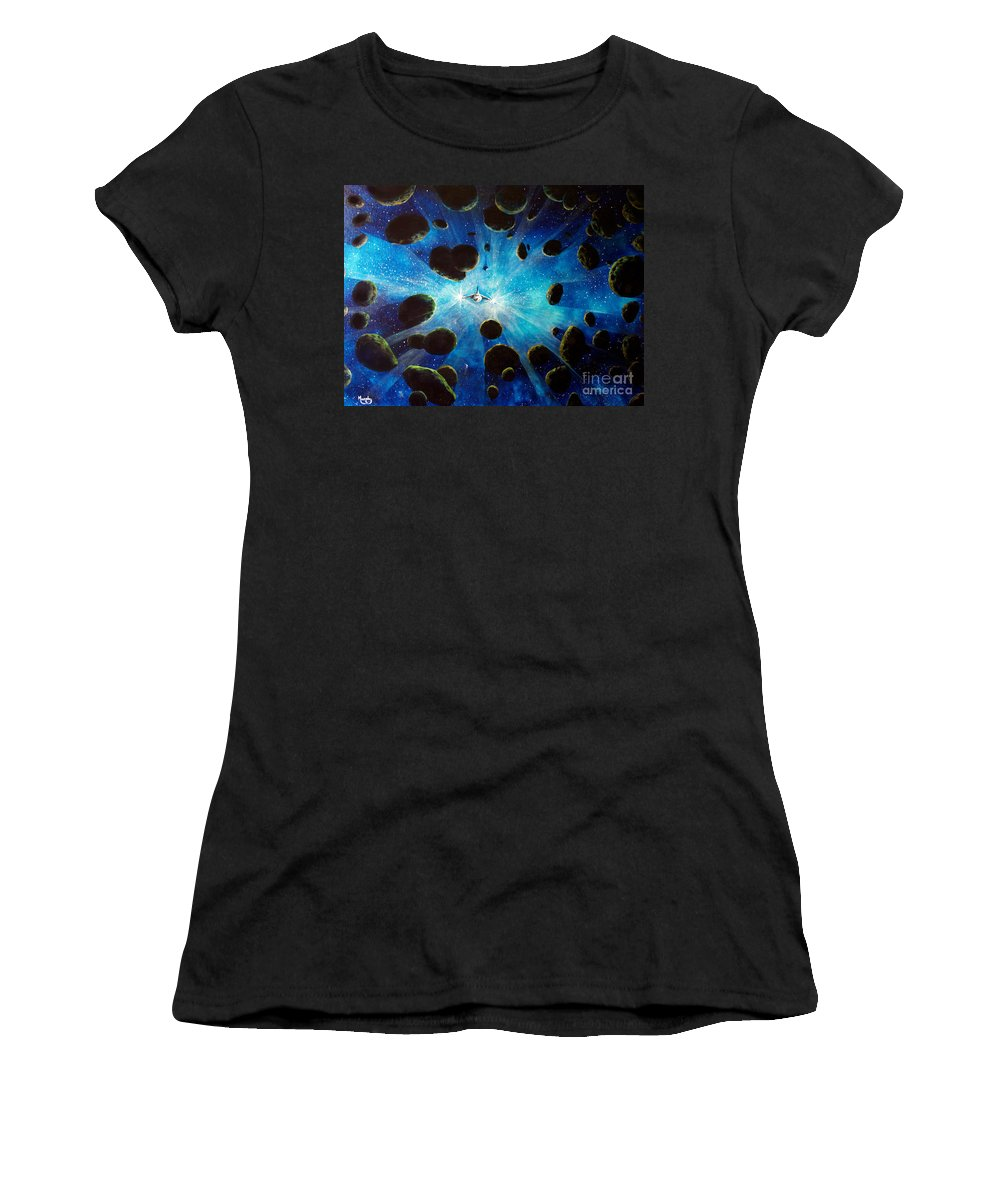 Asteroid Field. Astro Women's T-Shirt (Athletic Fit) featuring the painting Better Go Around by Murphy Elliott