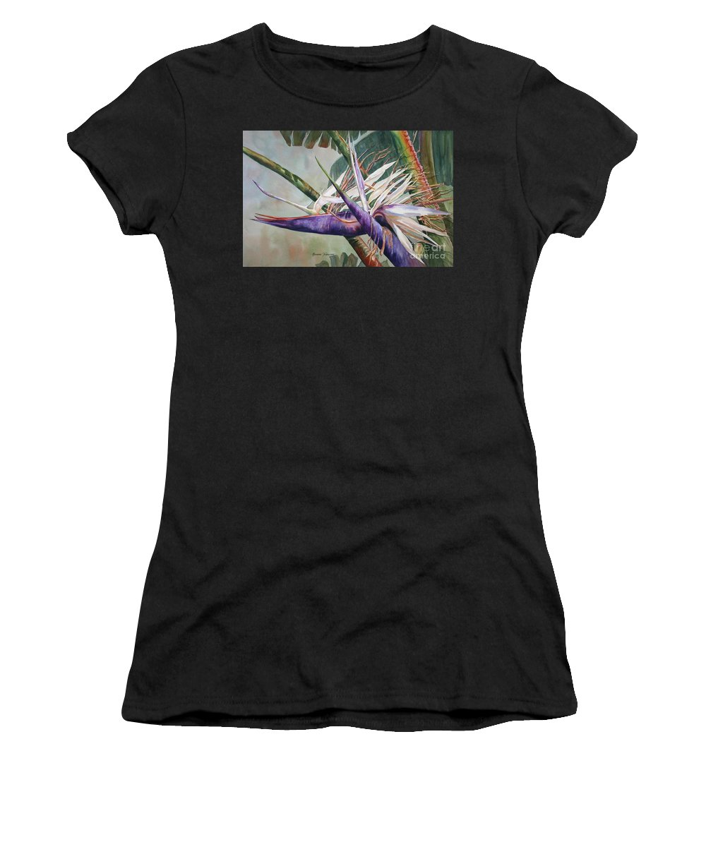 Bird Of Paradise Women's T-Shirt (Athletic Fit) featuring the painting Betty's Bird - Bird Of Paradise by Roxanne Tobaison