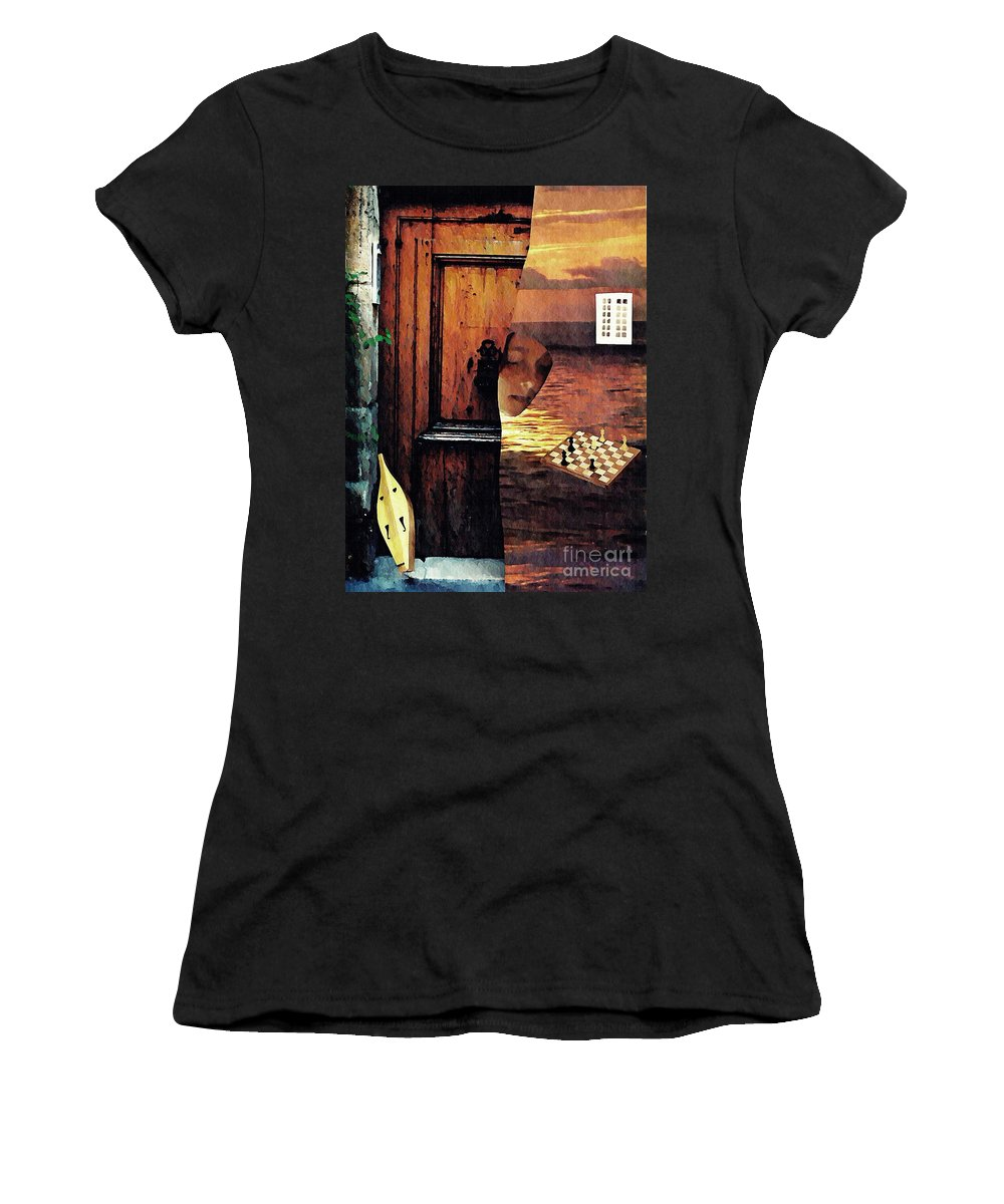 Music Women's T-Shirt (Athletic Fit) featuring the mixed media Between by Sarah Loft