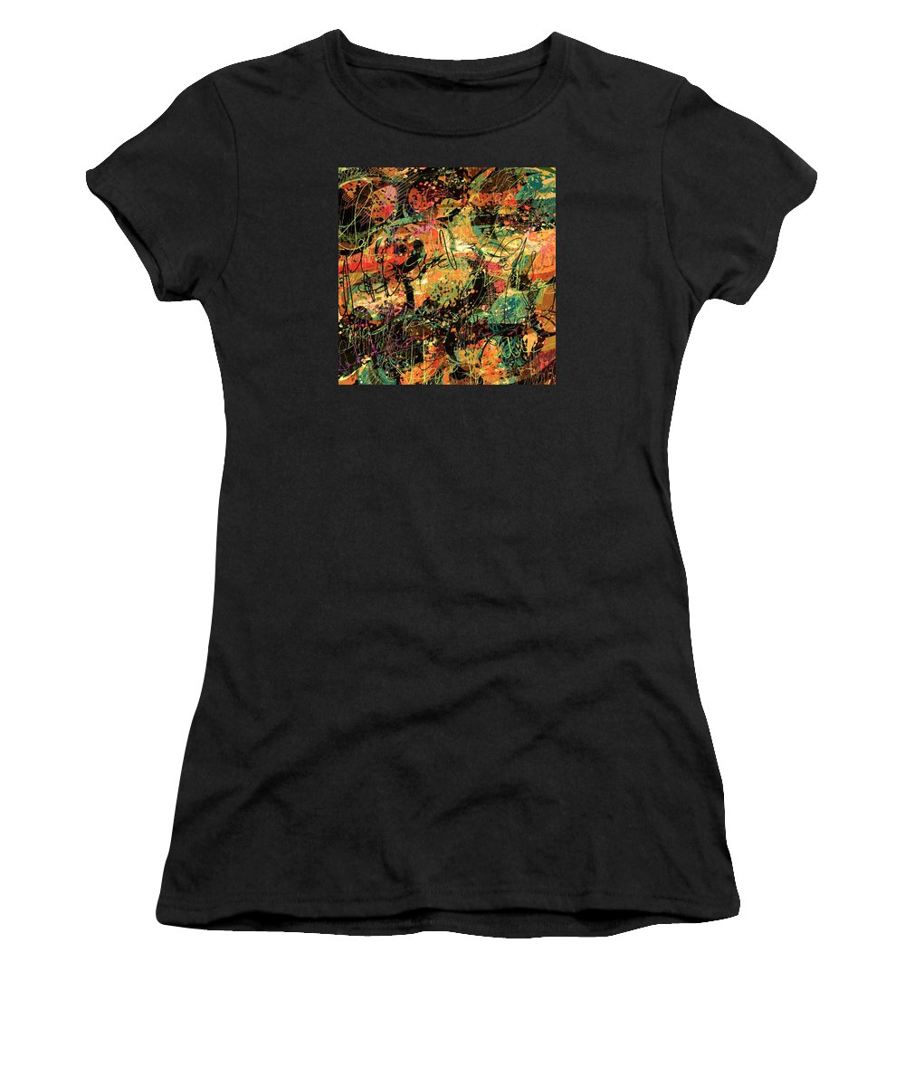 Abstract Women's T-Shirt (Athletic Fit) featuring the digital art Between The Lines by Rachel Christine Nowicki