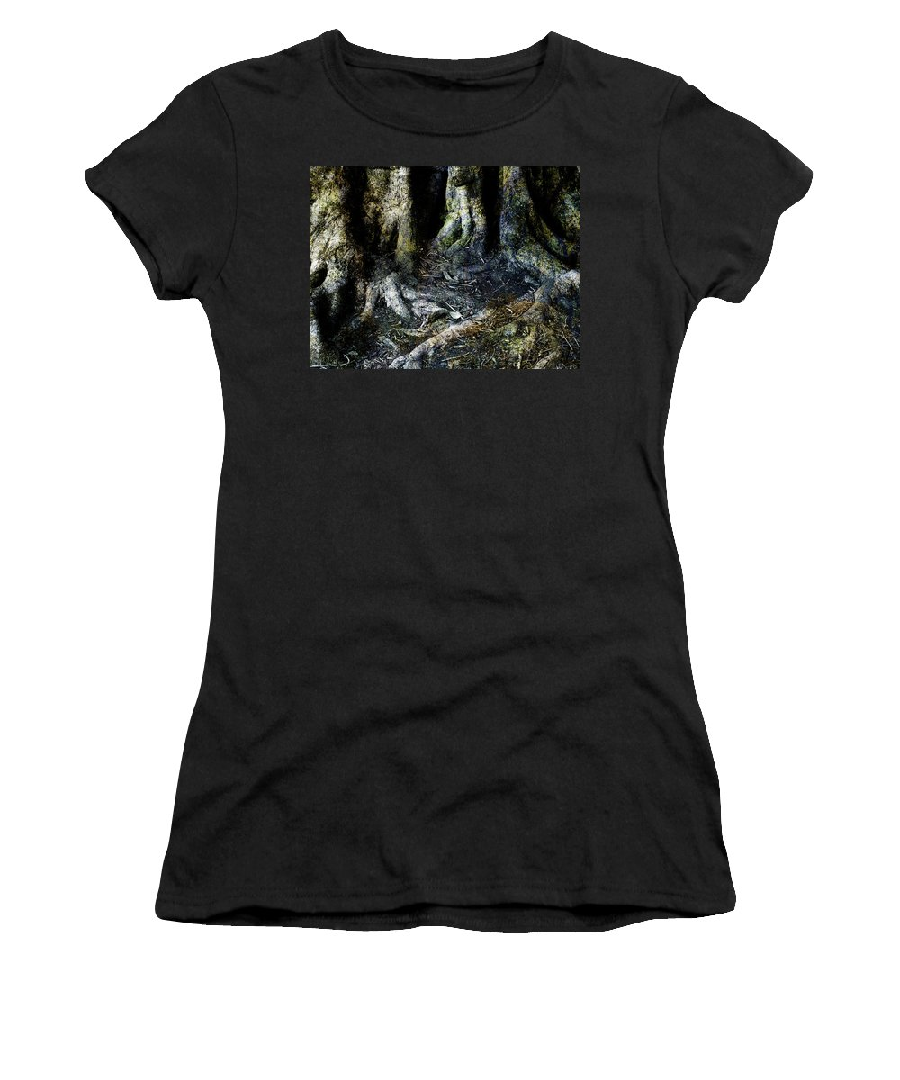 Tree Women's T-Shirt (Athletic Fit) featuring the photograph Beyond The Forest Edge by Kelly Jade King