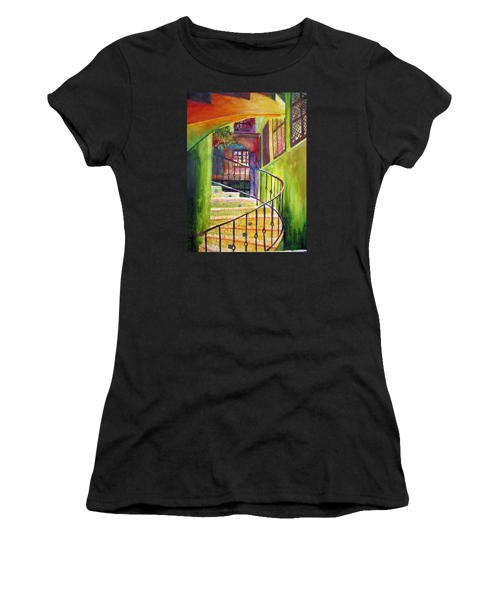 Architecture Women's T-Shirt featuring the painting Beyond The Steps by Karen Stark