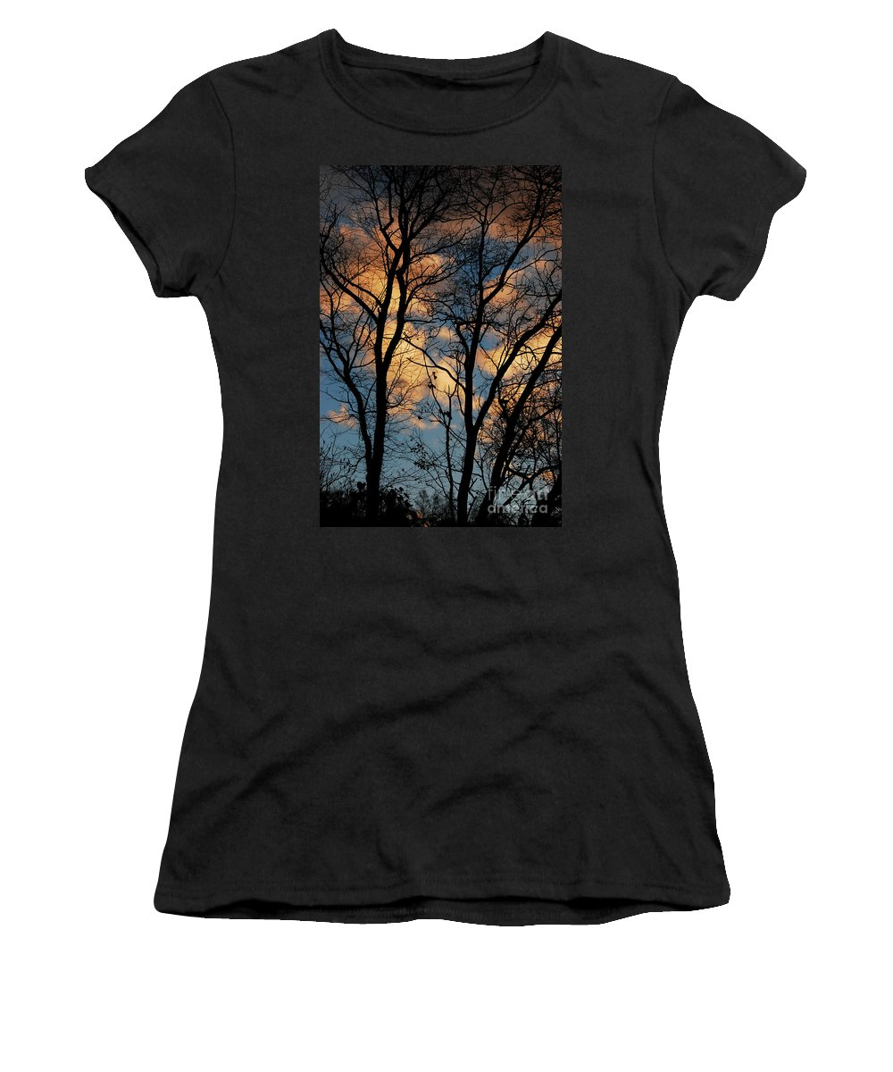 Landscape Women's T-Shirt featuring the photograph Beyond The Trees by Lori Tambakis