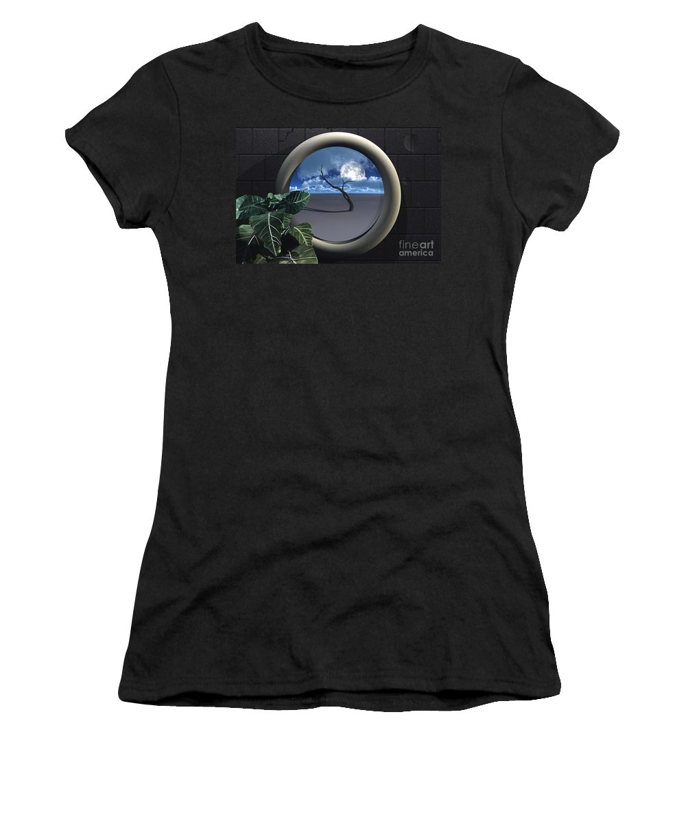 Walls Women's T-Shirt (Athletic Fit) featuring the digital art Beyond Walls by Richard Rizzo