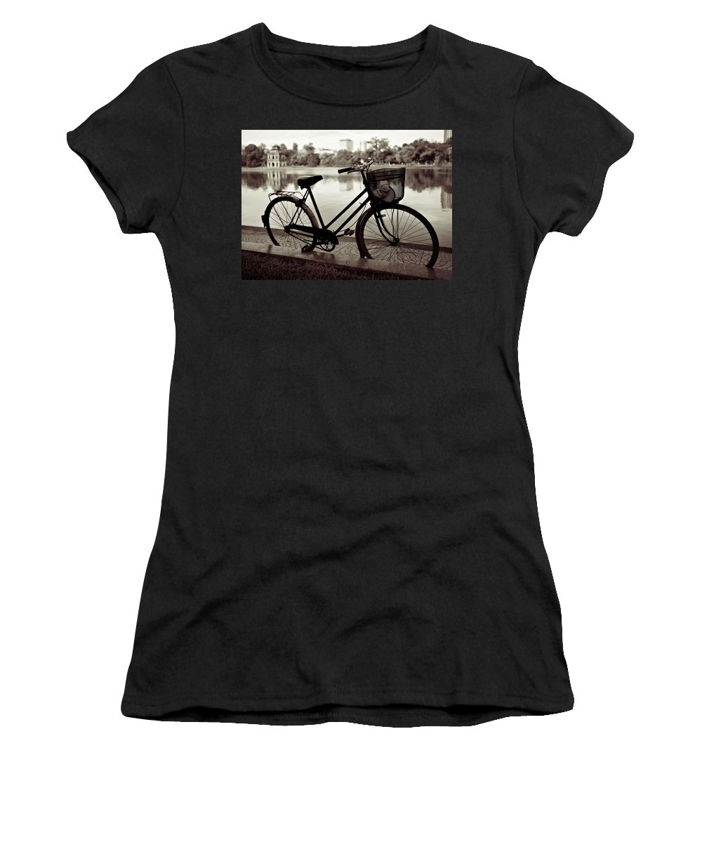 Bicycle Women's T-Shirt (Athletic Fit) featuring the photograph Bicycle By The Lake by Dave Bowman